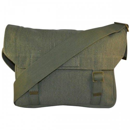 Newcastle - Mens Cotton Canvas Green Khaki Satchel Crossbody Bag - AllBags4u