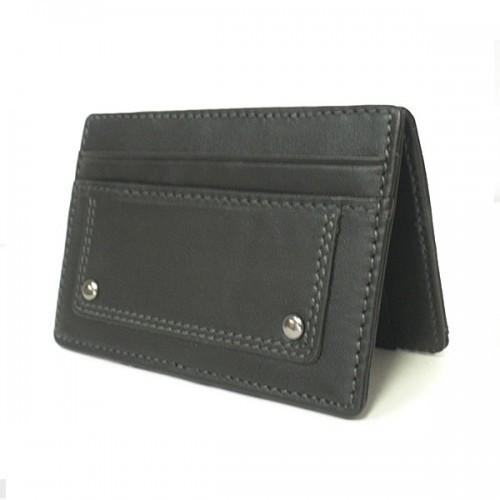 REGAN - Mens Black Genuine Leather Thin Magic Flip Wallet - AllBags4u