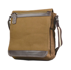 Riley - Mens Brown Cotton Canvas and Leather Messenger Satchel - AllBags4u