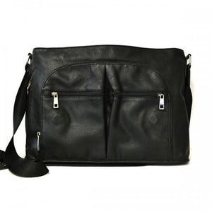 RIVERBANK - Mens Black Genuine Leather Satchel Business Crossbody - BeltNBags