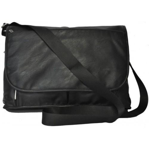 RIVERBANK - Mens Black Genuine Leather Satchel Business Crossbody - AllBags4u