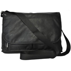 Riverdale- Mens Black Faux Leather Satchel Laptop Bag - AllBags4u