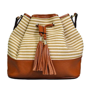 Rose Bay - Boho Leather Tan Bucket Crossbody  Bag - AllBags4u