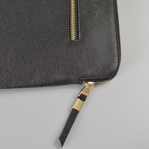 SORRENTO- Ladies Black Lux Leather Clutch Bag IPad Business Case - AllBags4u