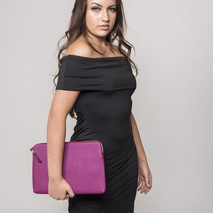 SORRENTO- Ladies Purple Lux Leather Clutch Bag IPad Business Case - AllBags4u