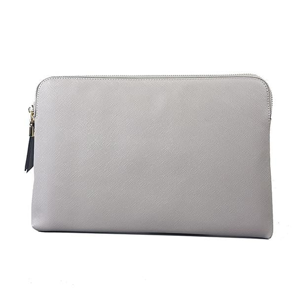 SORRENTO- Ladies Grey White Lux Leather Clutch Bag IPad Business Case - AllBags4u