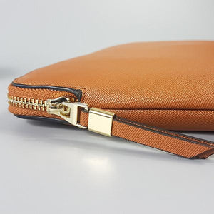 SORRENTO- Cognac Structured Saffiano Clutch - BeltNBags