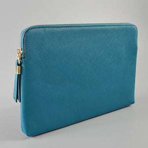 SORRENTO- Ladies Blue Lux Leather Clutch Bag IPad Business Case - AllBags4u