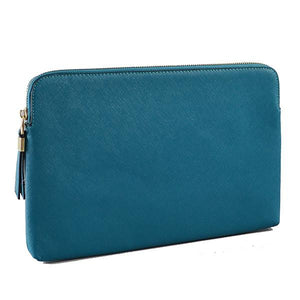 SORRENTO- Peacock Structured Saffiano Clutch - BeltNBags