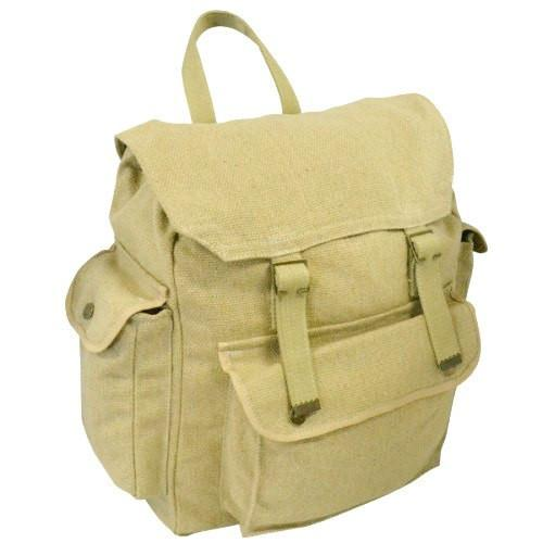 Tamworth - Khaki Canvas Hiking Knapsack Backpack - AllBags4u