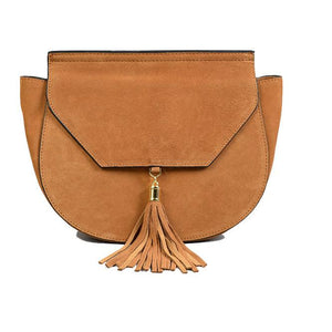 Tamarama - Addison Road -Tan Divine Structured Suede Saddle Bag-Womens Bag-Addison Road-BeltNBags