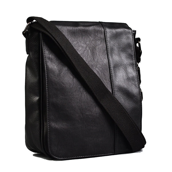 Tatum - Mens Black Faux Leather Messenger Reporter Thin Side Bag - AllBags4u