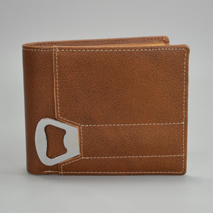 Tiger - Mens Tan Genuine Leather Wallet with Bottle Opener in Gift Box - AllBags4u