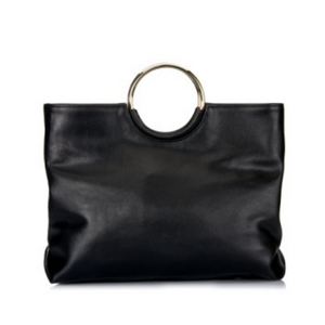 Millfield - Addison Road Black Leather Round Handle Tote Shoulder Bag - AllBags4u