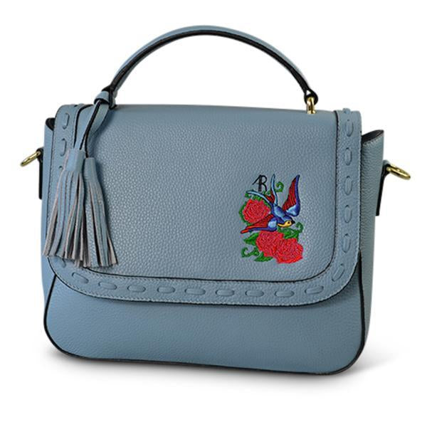 YAMBA- Addison Road Embroidered Blue Pebbled Leather Structured Bag - AllBags4u