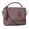 YAMBA- Addison Road Embroidered Lilac Pebbled Leather Structured Bag - AllBags4u