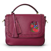YAMBA- Addison Road Embroidered Magenta Pebbled Leather Structured Bag - AllBags4u