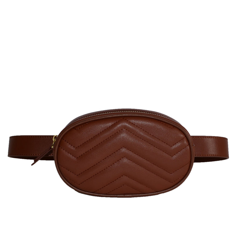 BUNBURY- Brown Leather Bum Bag - AllBags4u