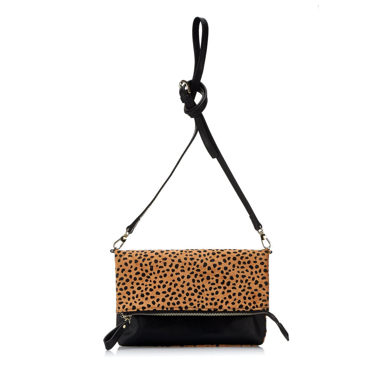 ELWOOD- Leopard Animal Print Cow hide Crossbody Fold Clutch Bag - Addison Road