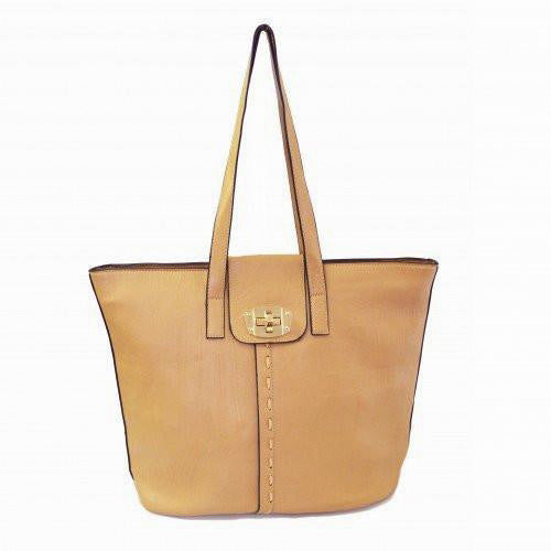 GLORIA - Ladies Faux Leather Tan Tote Shopper Bag - AllBags4u