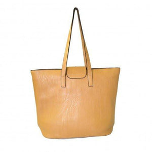 GLORIA - Ladies Vegan Leather Camel Tote Bag - Belt N Bags