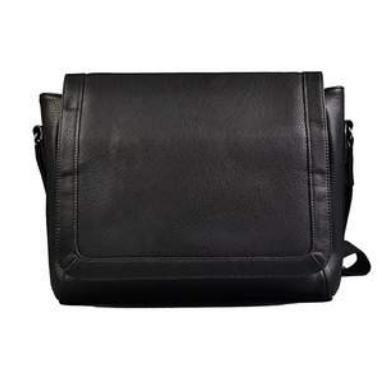 Jax - Mens Black Faux Leather Satchel Messenger Bag - AllBags4u