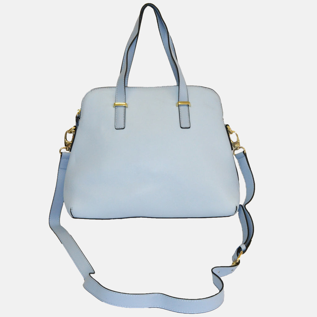 Light Blue Structured Faux Leather Handbag - AllBags4u