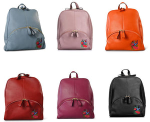 KINGSCLIFF- Addison Road - Red Pebbled Leather Backpack-Backpacks-Addison Road-BeltNBags
