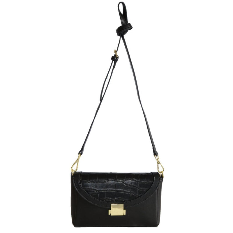 LISMORE-  Black Crocodile Look Leather Cross Body Bag - AllBags4u