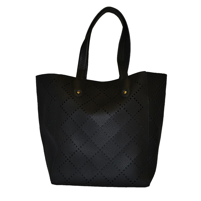 MIMOSA - Women's Black Laser Cut Vegan Tote Bag - AllBags4u