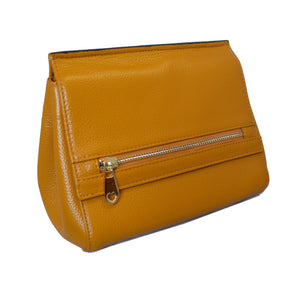 HUNTERS HILL-  Womens Yellow Mustard Leather Crossbody Shoulder Bag - AllBags4u