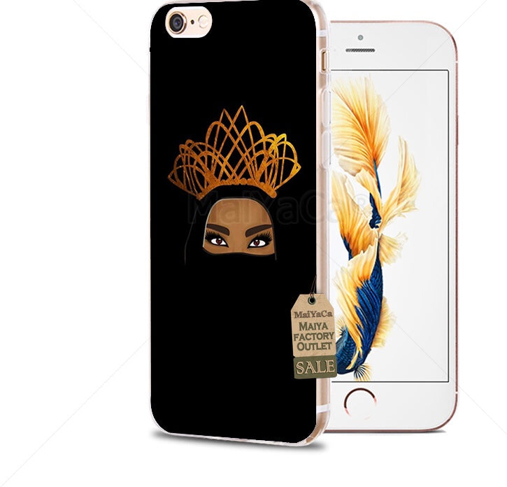 size 40 11e47 6ba37 Muslim black Girl soft Phone Case for iPhone 8 7 6S Plus X 5S SE 5C ...