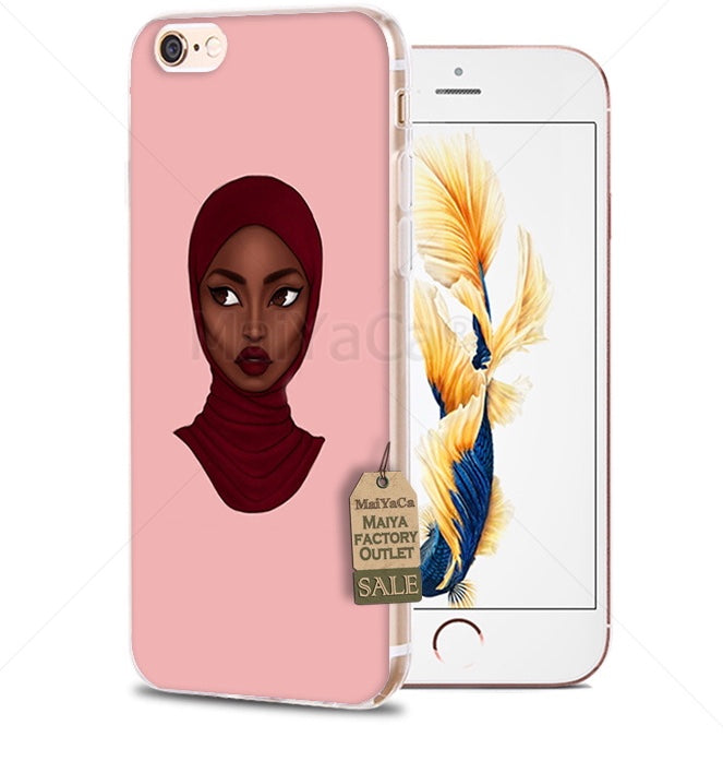 separation shoes 7f5a2 2aabf Muslim black Girl soft Phone Case for iPhone 8 7 6S Plus X 5S SE 5C 4 4s  case Cover