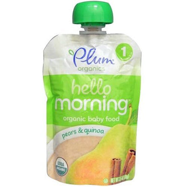 Plum Organics Hello Morning, Organic Baby Food, Pears & Quinoa (6X3.5 OZ)