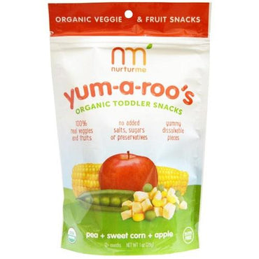 Nurturme Organic Toddler Snacks, Yum-A-Roo'S, Pea + Sweet Corn + Apple (6X1 OZ)
