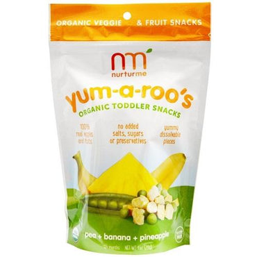 Nurturme Organic Toddler Snacks, Yum-A-Roo'S, Pea + Banana + Pineapple (6X1 OZ)