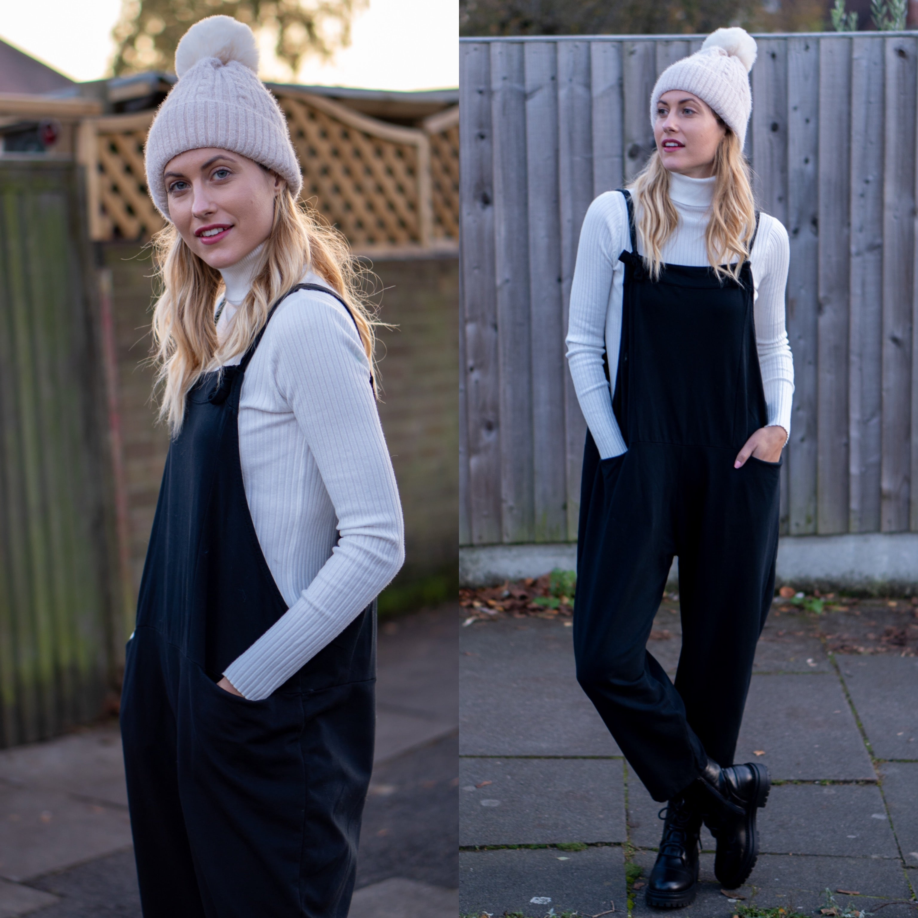 Dungarees Boyfriend Black Perfect Fit Overalls Pregnancy Loose Baggy