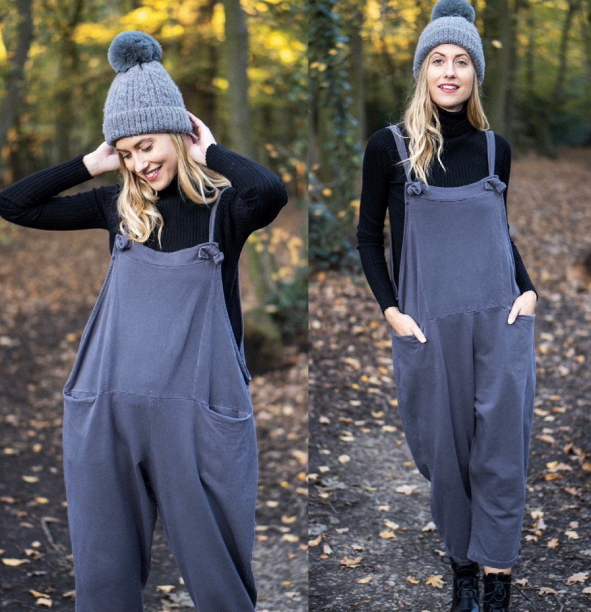 Dungarees Boyfriend Dark Grey Perfect Fit Overalls Pregnancy Loose Baggy