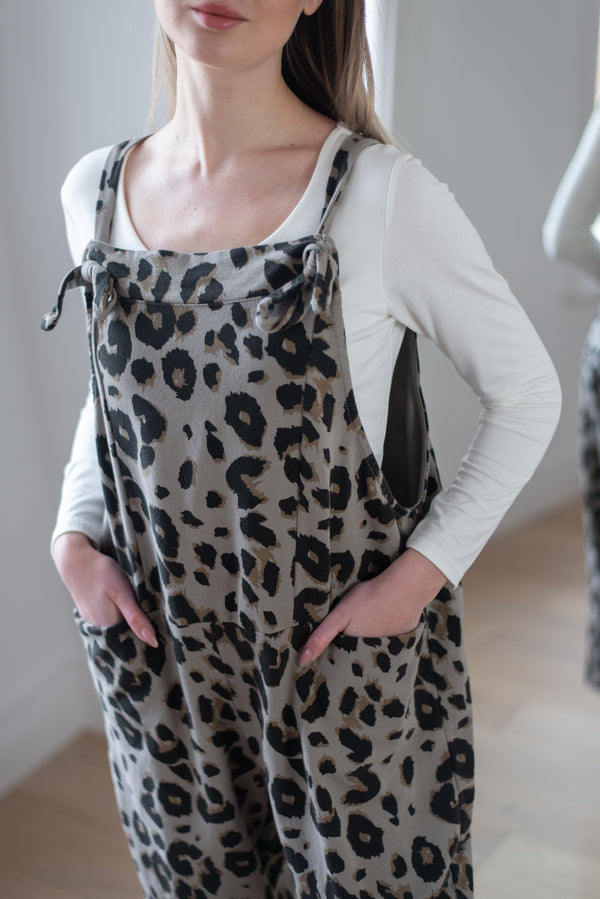 Leopard Knot Tie Dungarees in Mocha