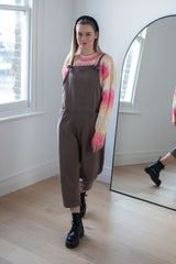 Jersey Cotton Boyfriend Dungarees in Mocha
