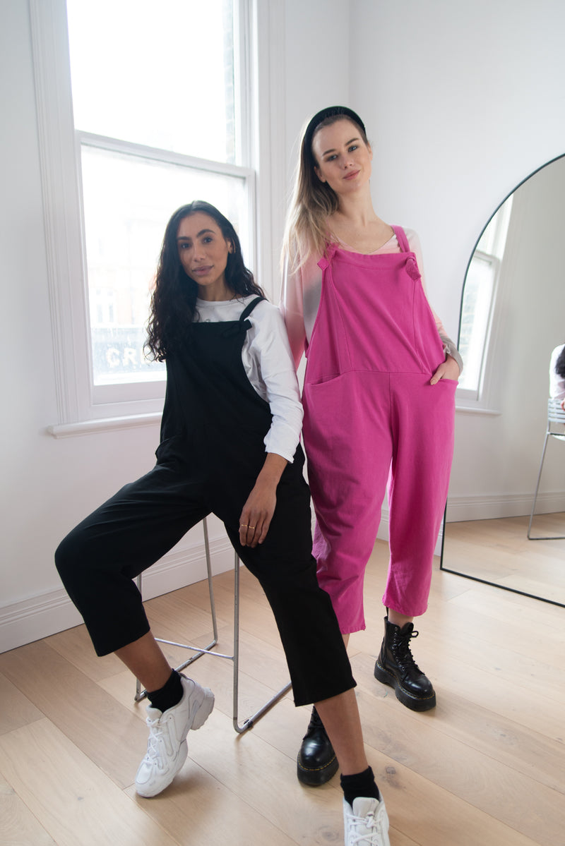 Jersey Cotton Boyfriend Dungarees in Bubblegum Pink