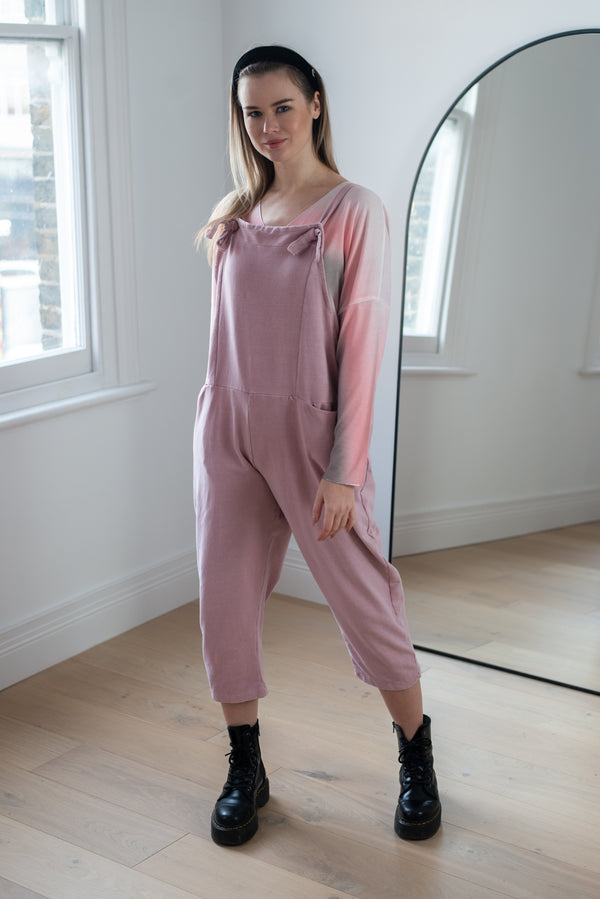 Jersey Cotton Boyfriend Dungarees in Blossom Pink