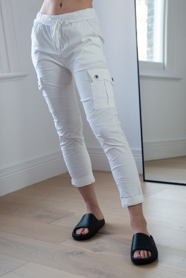 Stretchy Cargo Joggers in White
