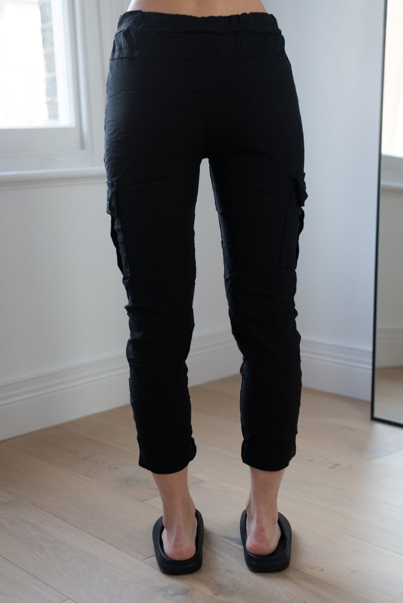 Stretchy Cargo Joggers in Black