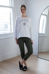 Cotton Rock Star Lightweight Sweatshirt in White