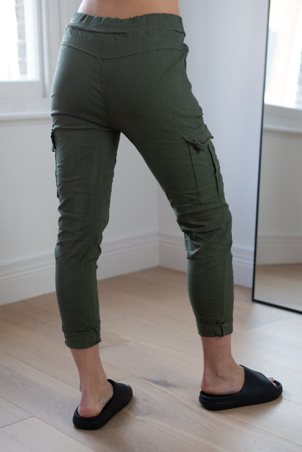 Stretchy Cargo Joggers in Khaki