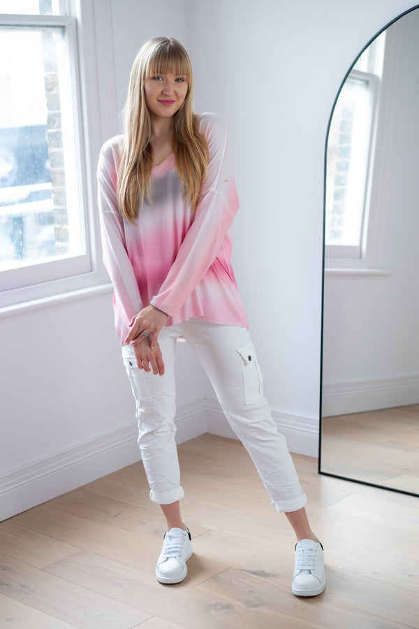 Pastel Ombre Loose Fit Top In Pink Palette