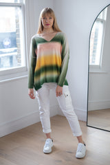 Pastel Ombre Loose Fit Top In Green Palette