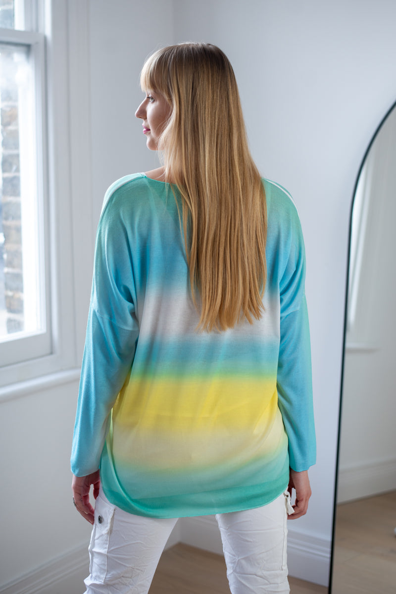 Pastel Ombre Loose Fit Top In Turquoise Palette