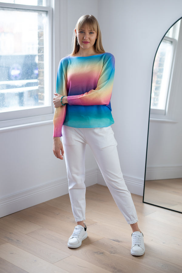 Rainbow Ombre Thin Knit Top in Aqua Palette